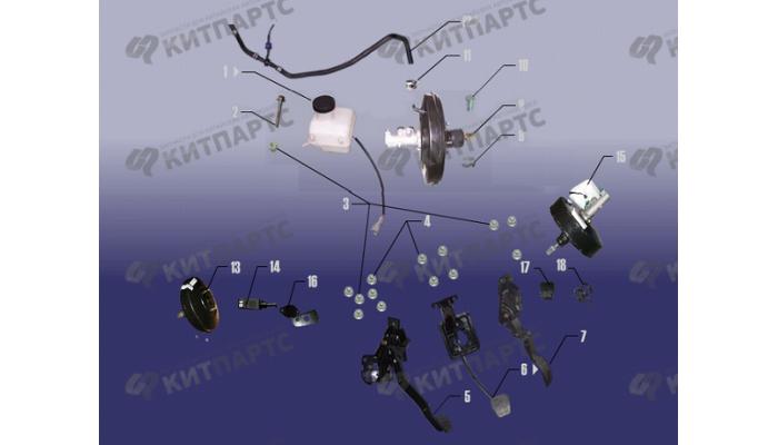 Вакуумный усилитель и педаль тормоза Chery Fora (A21)