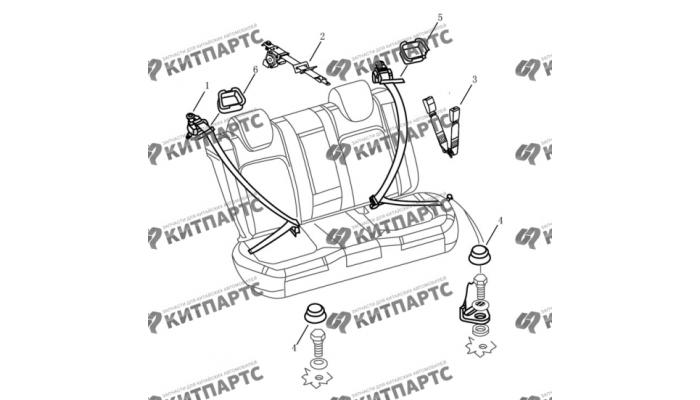 Ремни безопасности задних сидений Dong Feng S30
