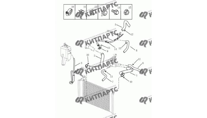 Патрубки системы охлаждения Geely Emgrand (EC7)