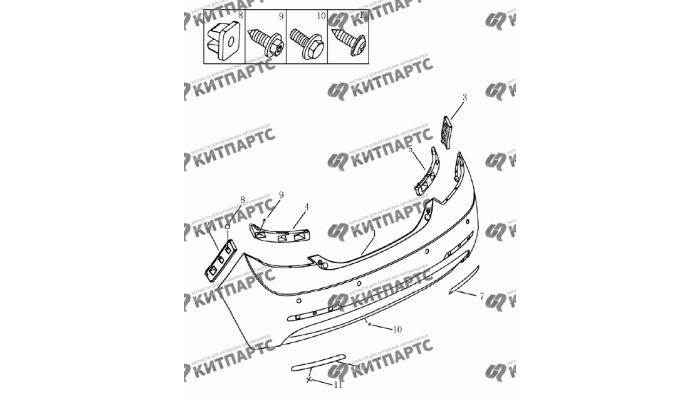 Бампер задний (Хетчбэк) Geely Emgrand (EC7)