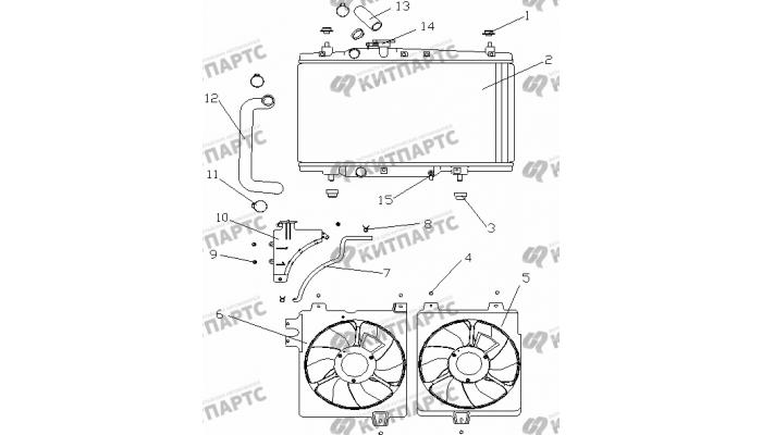 Радиатор охлаждения (МКПП / радиатор спереди) Geely Otaka (CK)