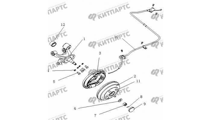 Тормоз задний правый (Барабанный, с ABS) Geely Otaka (CK)